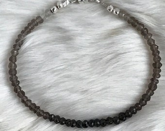 Genuine 4mm Ombre Smoky Quartz gemstone and Karen Hill Tribe sterling silver bracelet with magnetic clasp