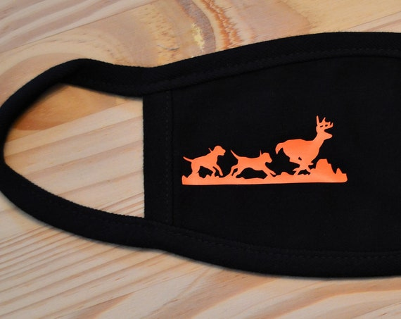 Deer Hunting Hounds Chasing Buck All Cotton Washable Face Mask Adult or Youth