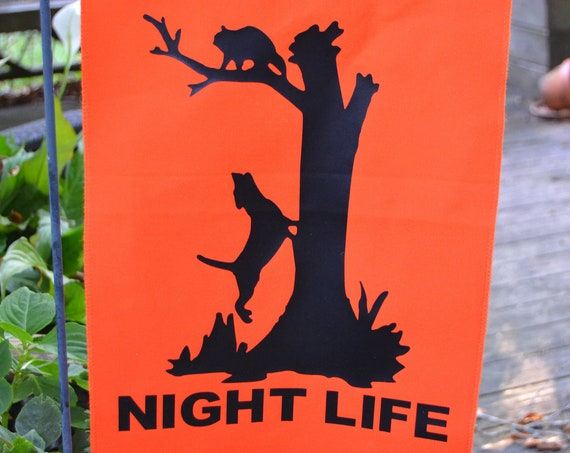 Coon Hunting Night Life Garden Flag Wall Hanging