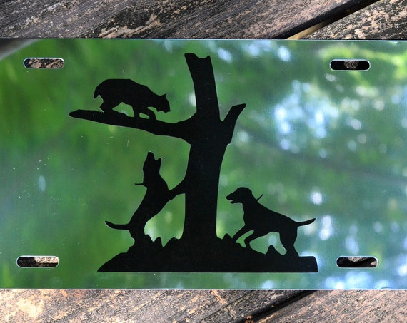 Hunting Bobcat Hounds Treed Hunting Mirrored License Plate