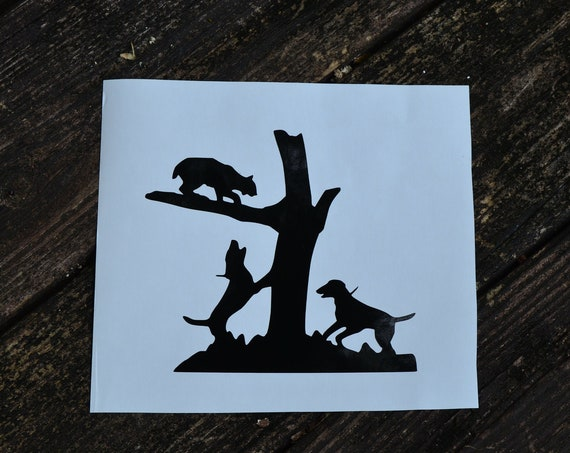Bobcat Lion Hounds Running Treed Hunting Decal