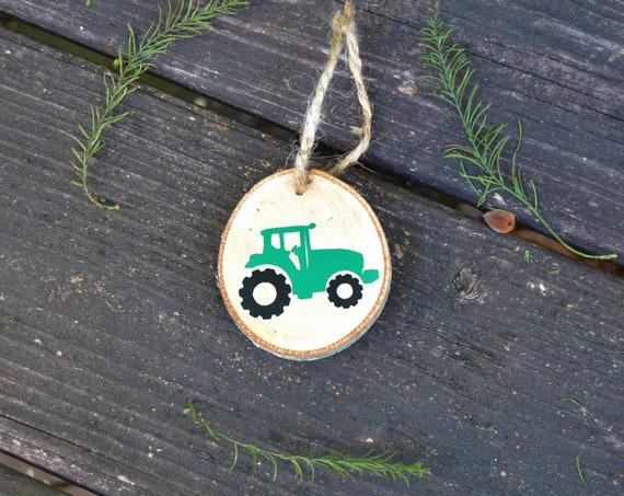 Farm Tractor Natural Wood Slice Ornament