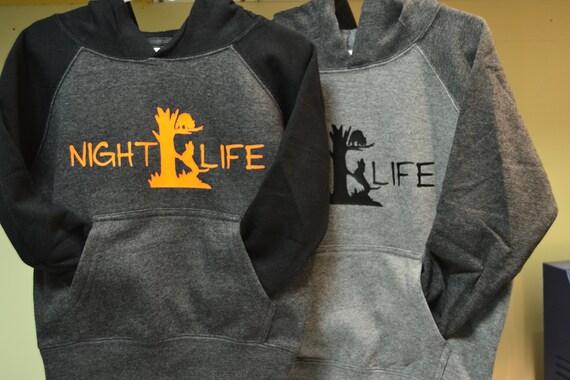 Youth Toddler Raglan Night Life Coon Hunting Hoodie Sweatshirt