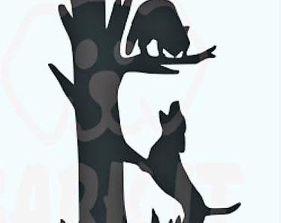 Coon Hunting Hound Treed Coon SVG, PDF, PNG, eps, Digital Download Cut File