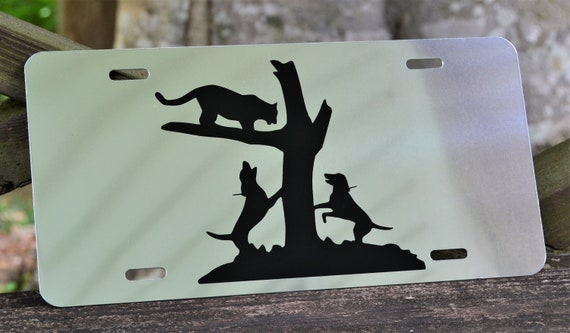 Mountain Lion Treed Hounds Hunting Mirrored  License Plate