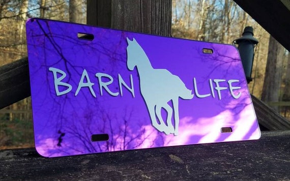 Mirrored Horse Barn Life License Plate