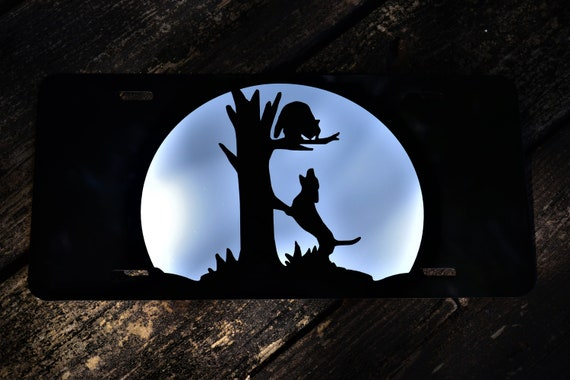 Hound Treed Coon Hunting Moon Silhouette License Plate
