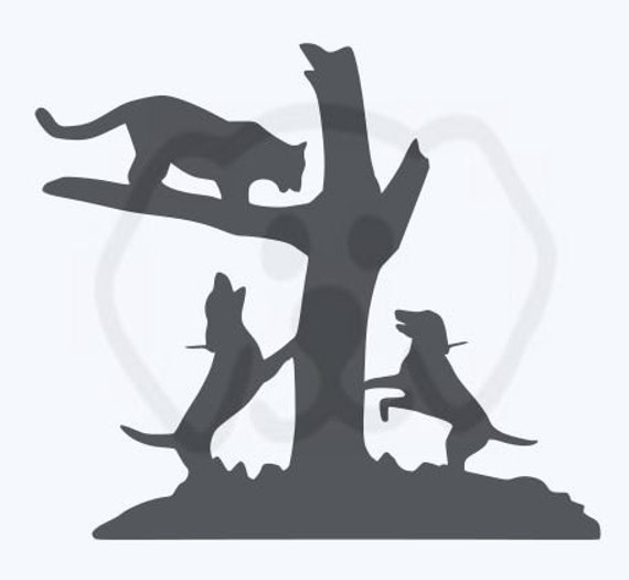 Mountain Lion Treed Hounds Hunting SVG, PDF, PNG, eps, Digital Download Cut File