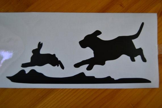 Rabbit Hunting Decal Beagle Chasing Rabbit