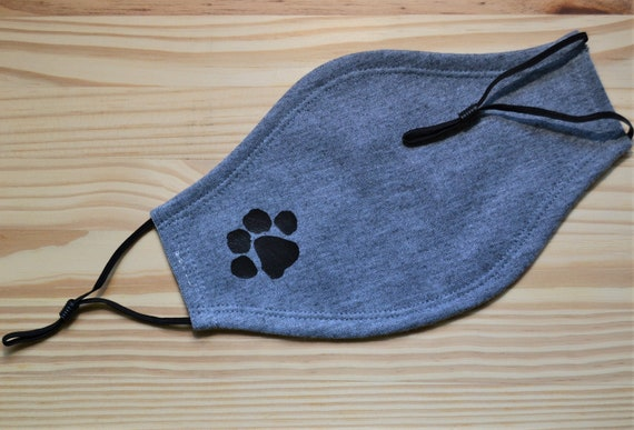 Paw Print Adult All Cotton Washable Face Mask and Lanyard Strap