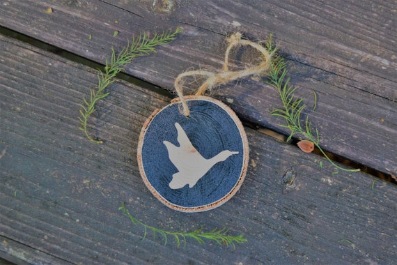 Duck Silhouette Wood Slice Ornament- Duck Hunting Christmas
