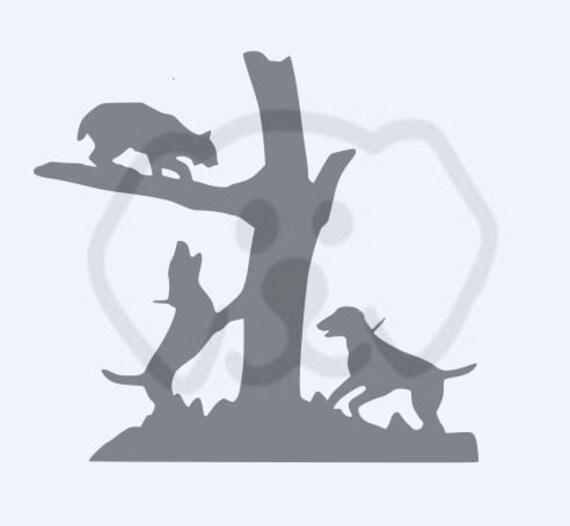 Bobcat Treed Hounds Hunting SVG, PDF, PNG, eps, Digital Download Cut File