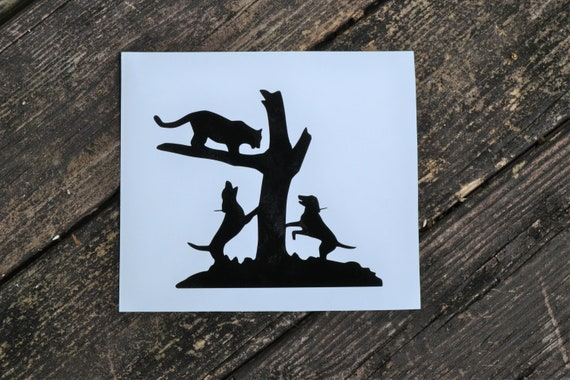 Mountain Lion Hounds Running Treed Hunting Decal