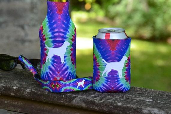 Tie Dye Dog Can Hugger, and Bottle Hugger Drink Holder and Sunglasses Strap