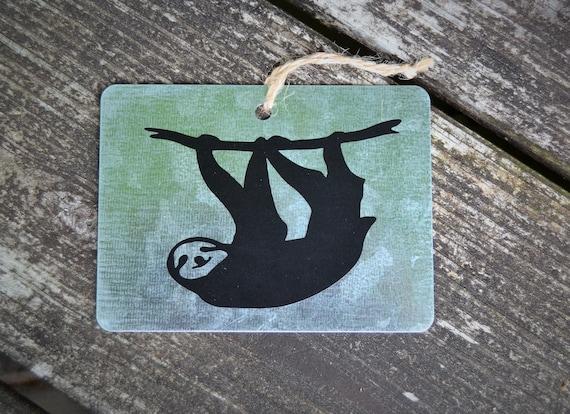 Zoo Animals Sloth, Llama, Lemur, Goat, Sheep, Lamb Small Galvanized Wall Hanging, Tag, Ornament