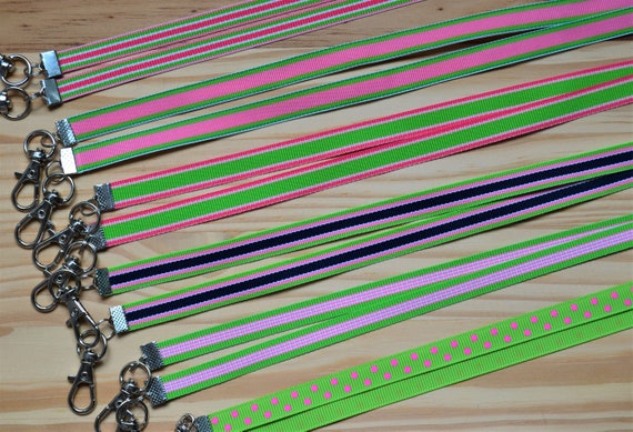 Pink and Green Collection Thin Face Mask Lanyard Adjustable Strap for Face Coverings