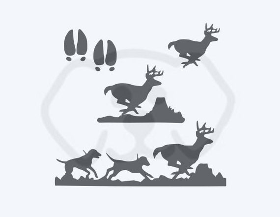 Hounds Chase Buck Hunting Deer Running Set with Tracks SVG, PDF, PNG, eps, dxf Digital Download Cut File for decals, shirts and more