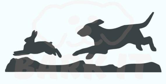 Hound Dog Chasing Rabbit SVG, PDF, PNG, eps, dxf Digital Download Cut File