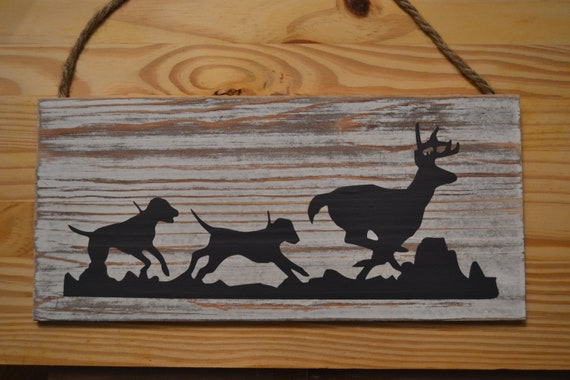 Deer Hunting Hounds Chasing a Deer Sign, Wall Hanging