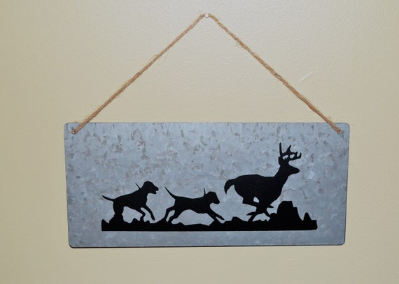 Deer Hunting Galvanized Metal Hounds Chasing a Deer Sign, Wall Hanging
