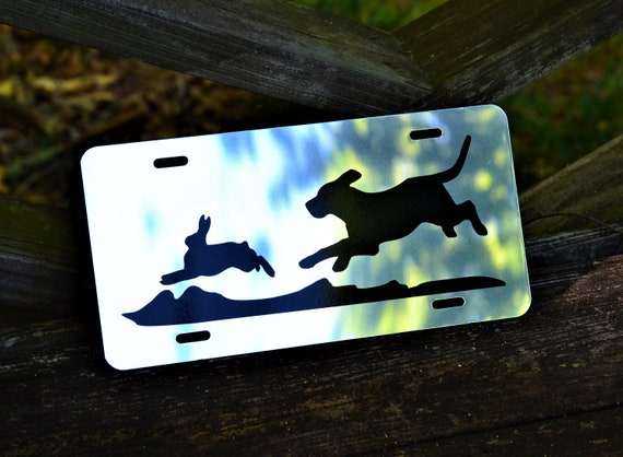 Mirrored or Black Hunting Beagle Chasing Rabbit License Plate