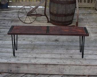 Farmhouse bench, industrial bench, vintage bench, Industrial furniture, reclaimed wood bench, reclaimed, vintage, hairpin legs, upcycled