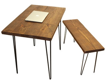 Desk and bench, table, wood desk, computer desk, reclaimed wood desk, reclaimed wood, industrial, industrial desk, office desk, rustic, wood