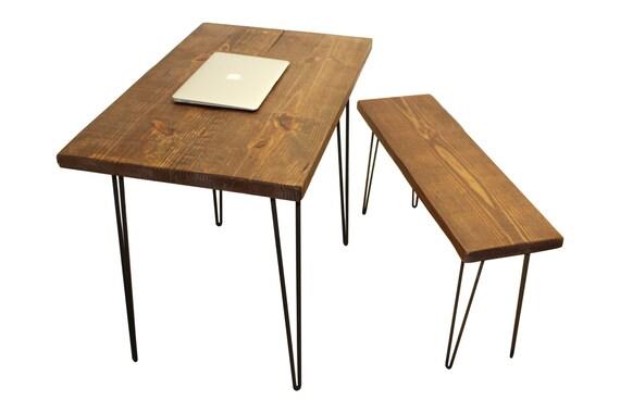bureau et banc r g n r e table et banc bureau bois avec etsy. Black Bedroom Furniture Sets. Home Design Ideas