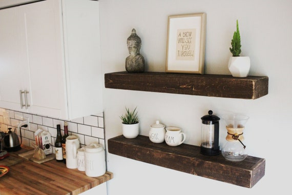 Easy Mount Wood Floating Shelves Reclaimed Wood Shelf Etsy Awesome How To Make Floating Shelves From Scratch