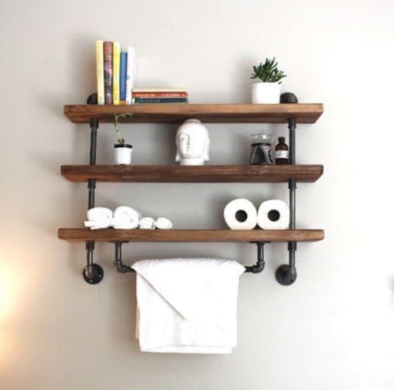Industrial Pipe Shelf Bathroom Shelves Kitchen Shelves Entryway Shelf Storage Shelf Reclaimedwoodusa Bathroom Shelf