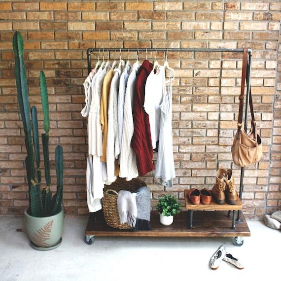wood metal clothing rack, garment rack, clothes rack, industrial, rack, clothing racks, display rack, shop display, retail clothing rack