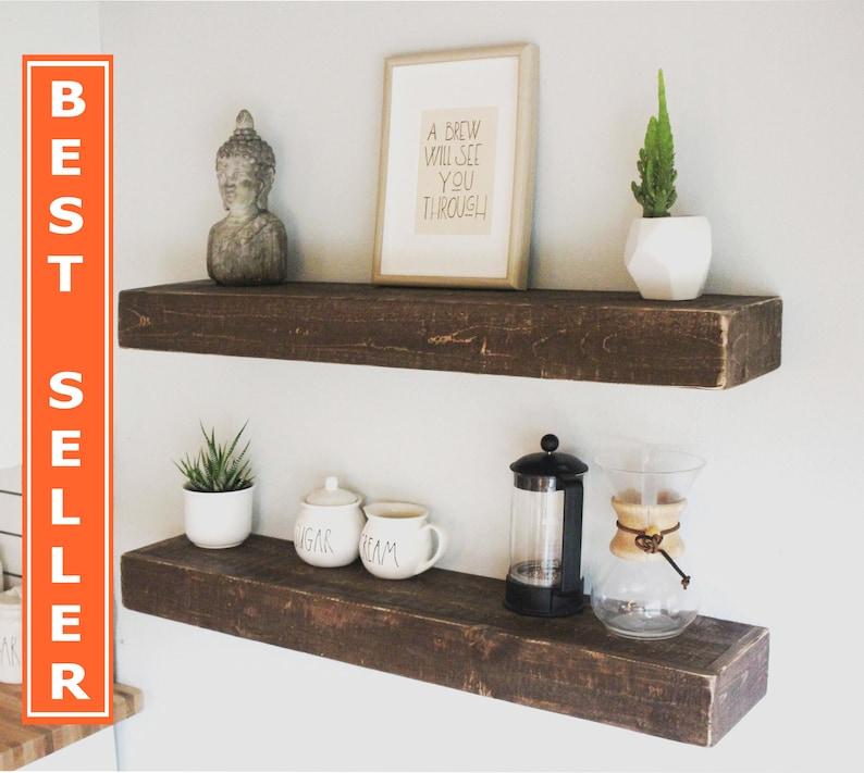 Fast Easy Mount Wood Floating Shelves Reclaimed Wood Shelf image 0