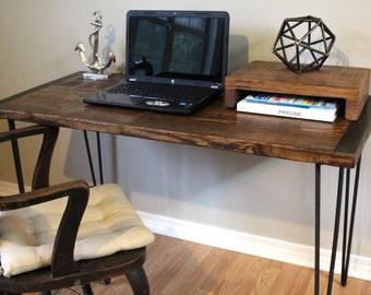desk, table, wood desk, computer desk, writing desk, simple desk, wood furniture, farm house table, bespoke, contemporary, hairpin legs