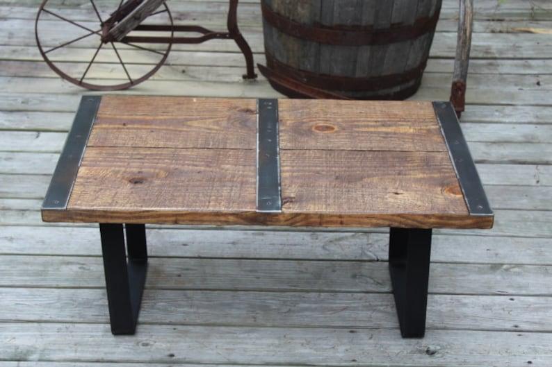 Reclaimed Wood Coffee Table, Metal Strips, Industrial Coffee Table, Urban  Coffee Table, Reclaimed Wood Table, Vintage, Industrial Furniture