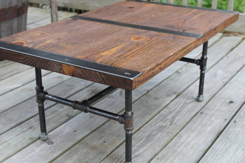 Pipe Leg Coffee Table Industrial Coffee Table Reclaimed Etsy