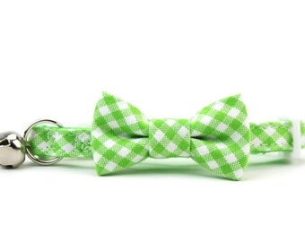 Lime Gingham Cat Bow Tie Collar Light Green Check Checkered Cat Bowtie Collar with Breakaway Buckle and Bell