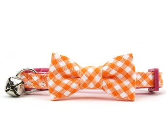 Orange Gingham Cat Bow Tie Collar Check Checkered Cat Bowtie Collar with Breakaway Safety Buckle and Bell