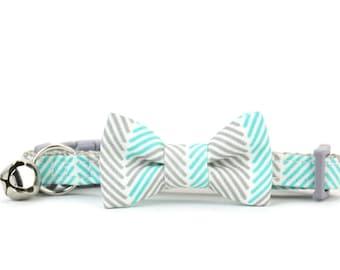 Cat Bow Tie Collar Aqua Blue and Grey Modern Geometric Chevron Striped Cat Bowtie Breakaway Safety Gray Cat Collar with Bell