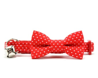 Red Cat Bow Tie Collar White Polka Dot Bowtie Breakaway Safety with Bell