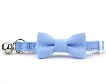 Baby Blue Cat Bow Tie Collar Solid Color Wedding Cat Bowtie Breakaway Collar with Bell Boy Cat Collar