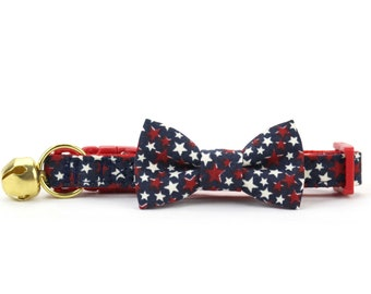 Stars Cat Bow Tie Collar, 4th of July, Patriotic, Red White and Navy Blue, Breakaway Cat Collar with Bell