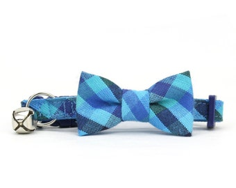 Blue Gingham Cat Bowtie Collar with Breakaway Safety Buckle Jewel Tone Check Cat Bow Tie Collar and Bell