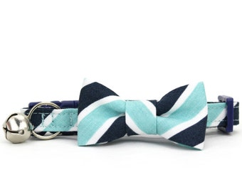Blue Striped Cat Bow Tie Collar Nautical Navy Aqua Cat Bowtie Breakaway Safety Cat Collar with Bell