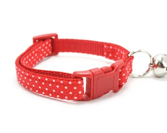 Red Cat Collar with Bell White Pin Dot Cat Collar Breakaway Safety