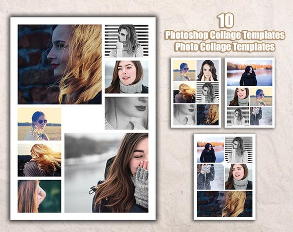 photoshop collage templates photo card collage templates etsy