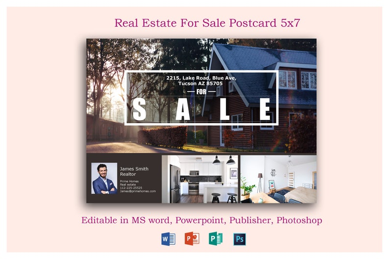 Real Estate Advertising Postcard Template Editable In Etsy