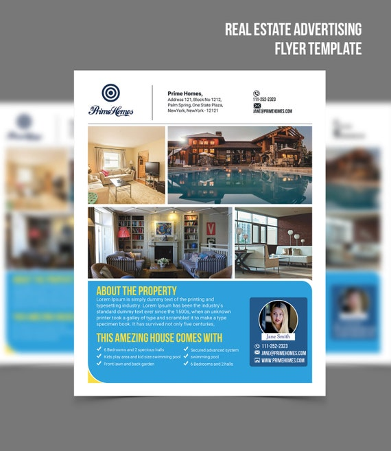 Real Estate Advertising Flyer Template Editable In Microsoft Etsy