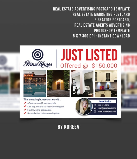 real estate advertising postcard template editable in ms word etsy