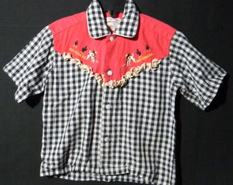 Rare Child s Original Roy Rogers Shirt 1951-1954 by Rob Roy Boy s Size 6  Black and White Checked Western Wear with Red Trim 7fdf4c7ab