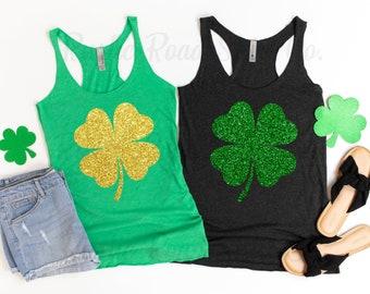 Shamrock tank Glitter top Womens St Paddys day shirt Saint Patricks day outfit Cute glitter shamrock